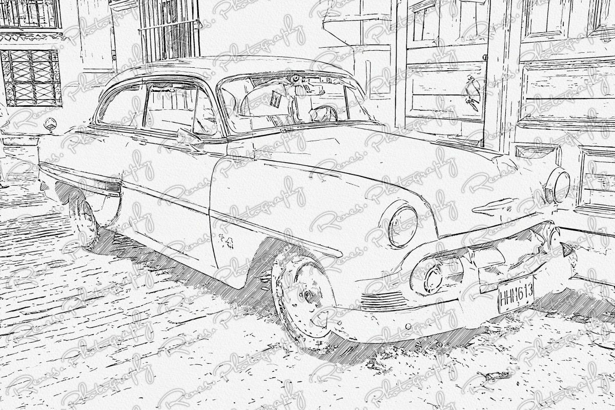 1953 Chevrolet on the streets of Havana Cuba 2 Sketch scaled