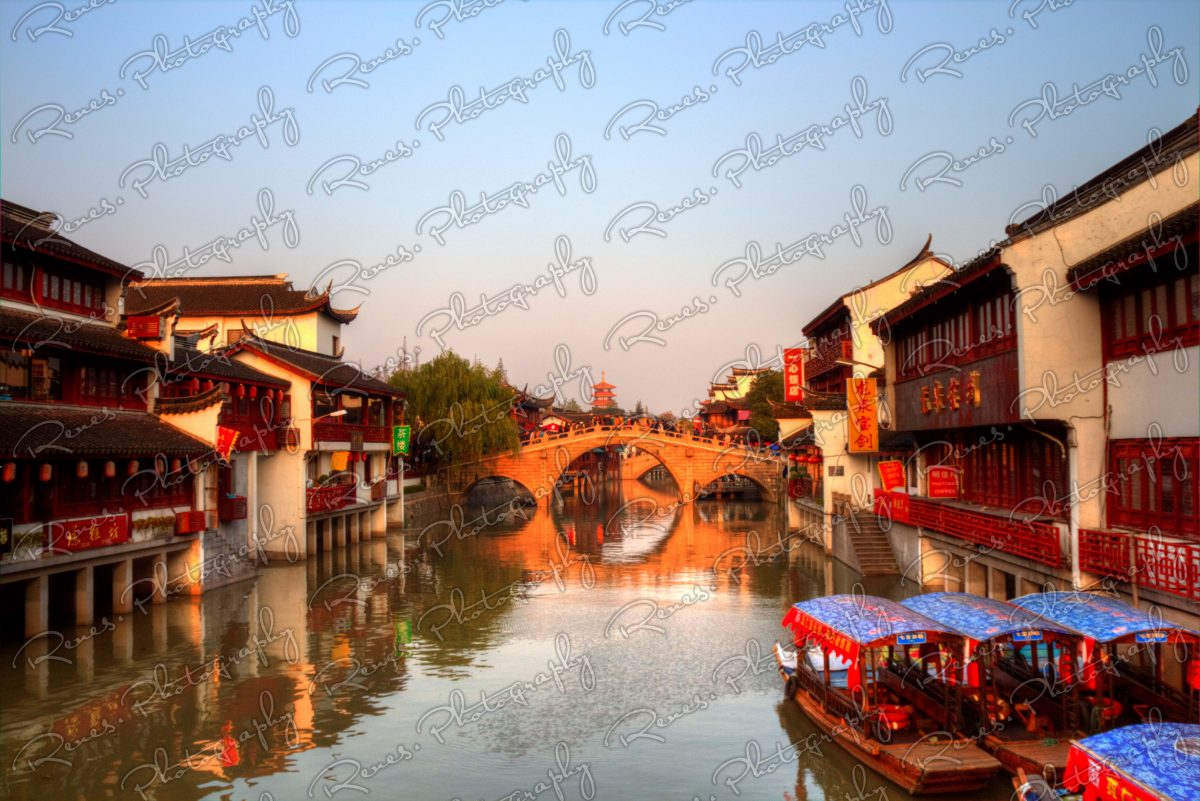 Sunset in Qibao Ancient Town in Shanghai China 3 scaled