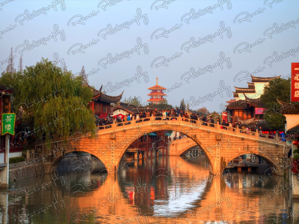Sunset in Qibao Ancient Town in Shanghai China 4